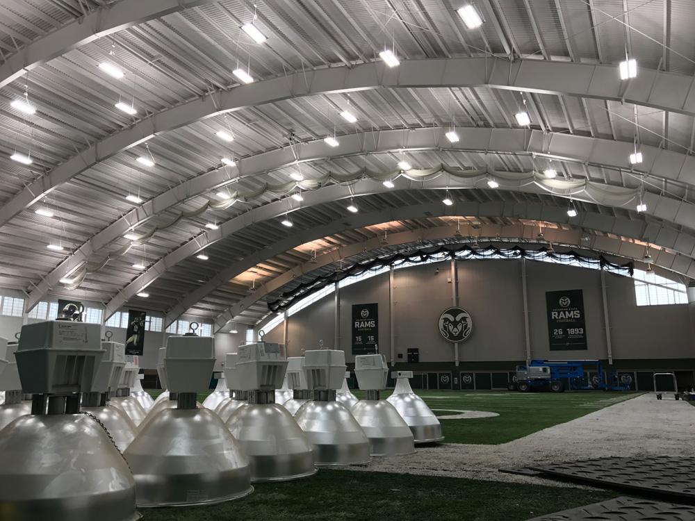 IK10 Series Lighting CSU Indoor Field House - Old Lighting Vs New lighting